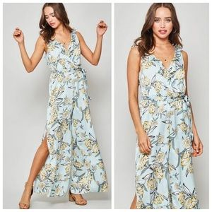 Light blue and yellow floral jumpsuit